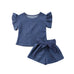 Natalie Denim Ruffle Top + Shorts