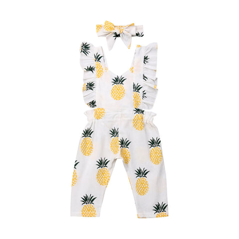 Pineapple Ruffle Jumpsuit + Headband