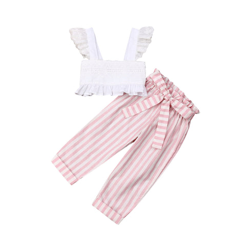 Ruffle Strap Top + Bow Stripe Pants