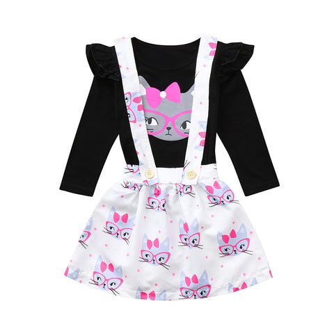 Kitty Ruffled Top + Overall Skirt