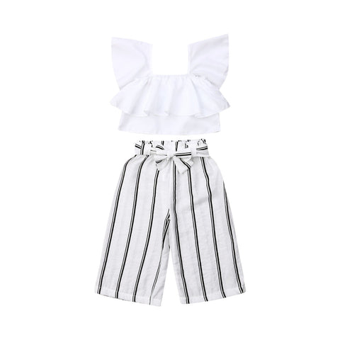 Valerie Ruffle Top + Stripe Pants