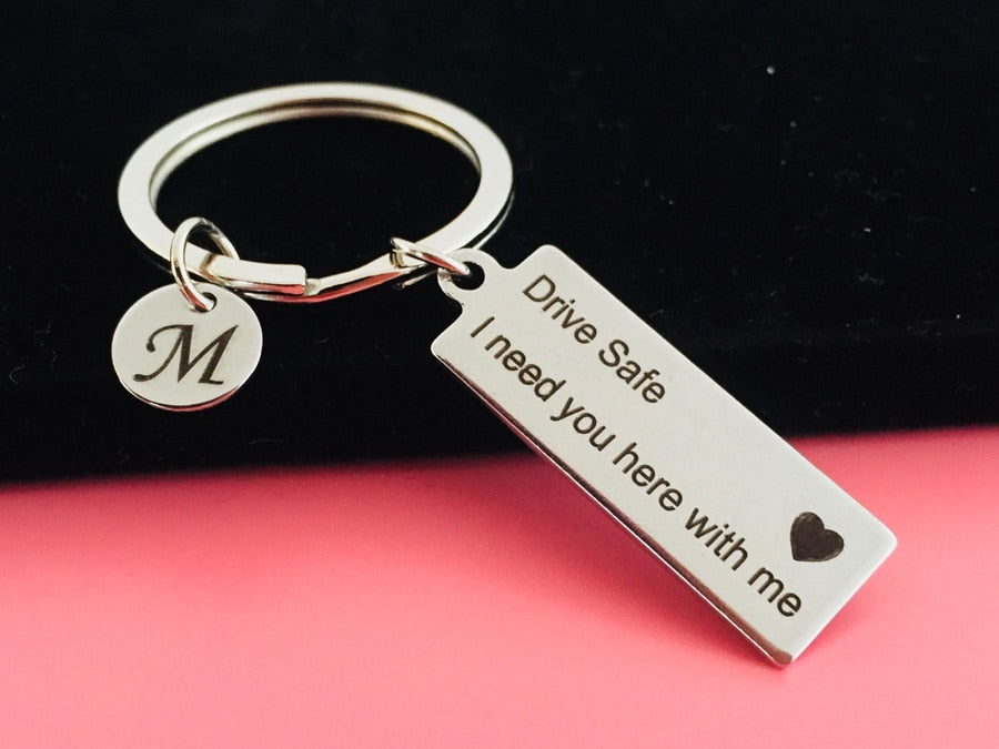 Personalized Engraved Keychain - Drive Safe