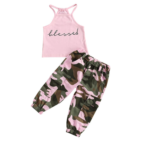 Blessed Halter Top + Camo Pants