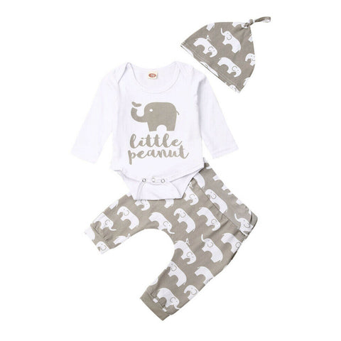 Little Peanut Bodysuit + Elephant Pants 3pcs Set