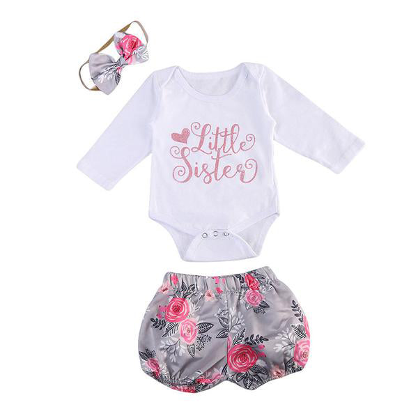 Little Sister Bodysuit + Shorts 3pcs Set