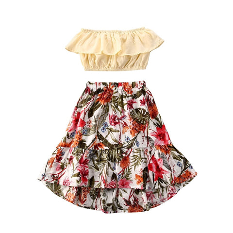 Nadine Ruffle Top + Floral Skirt