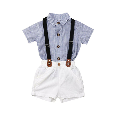 Striped Top + Suspender Shorts