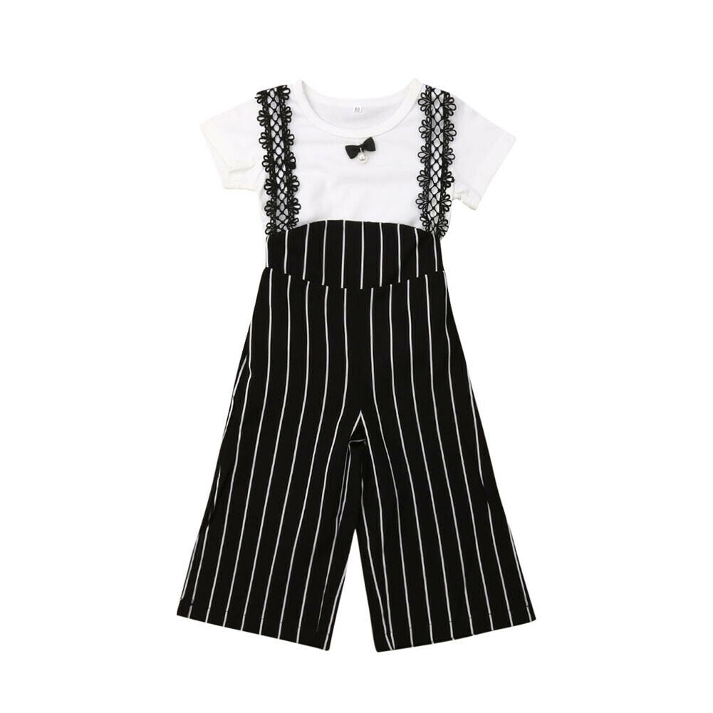 Connie Bow Top + Striped Overall Pants