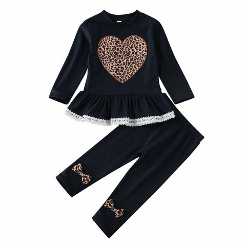 Leopard Heart Lace Top + Pants