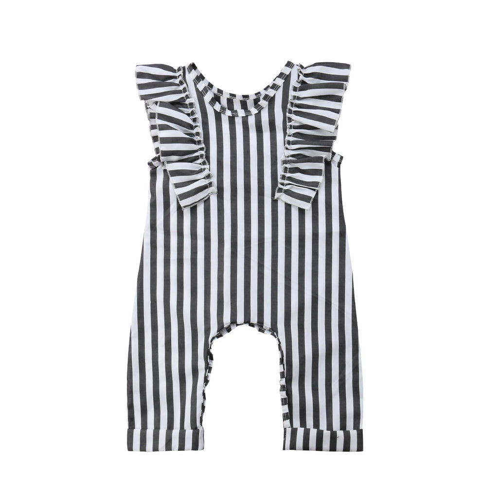 Rita Ruffle Striped Jumpsuit