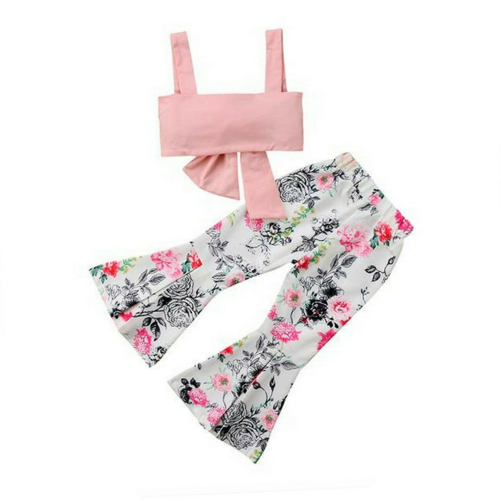 Pink Bow Crop Top & Bell Pants