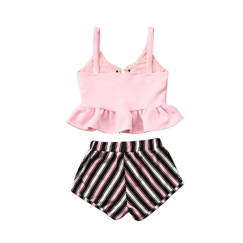Ruffle Strap top + Bow Stripe Shorts