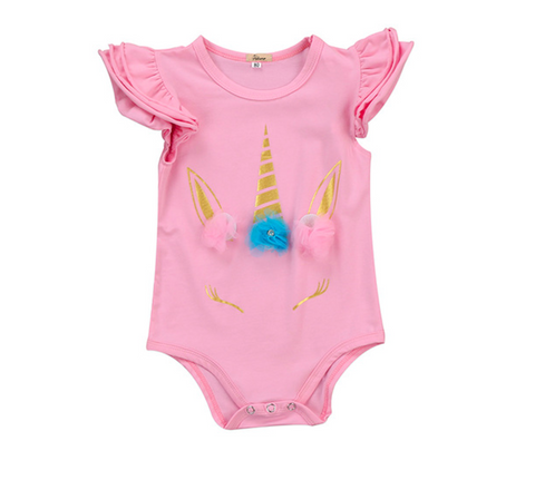 Unicorn Ruffled Sleeve Bodysuit
