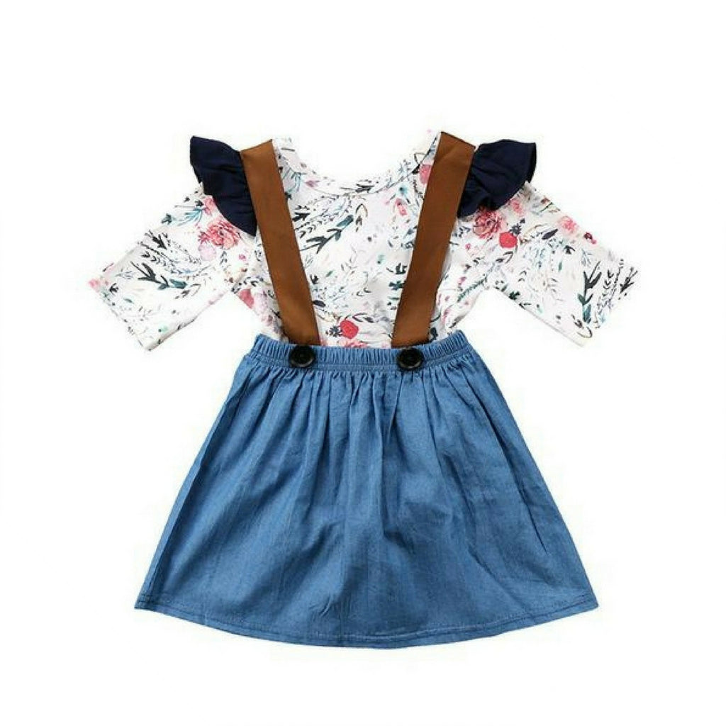 Silvia Floral Bodysuit + Denim Skirt