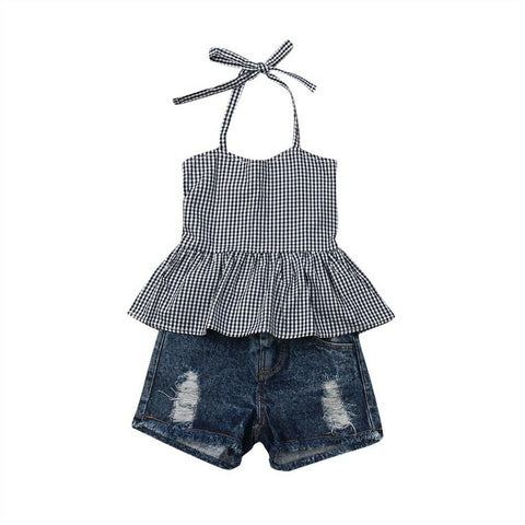 Monique Strap Plaid Top + Distressed Shorts