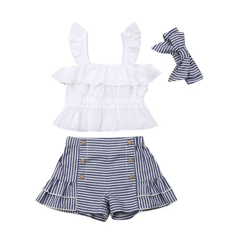 Carmen Strap Top + Stripe Shorts 3pcs Set