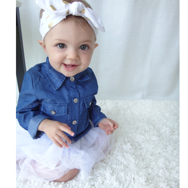 0d74b35e6 Cutest Baby Girls Dress Tutu Denim Top   Baby Headband Set – Little ...