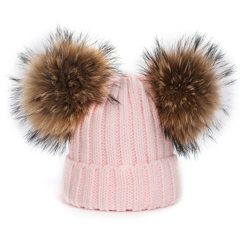 Adult Large Double Pom-Pom Hat