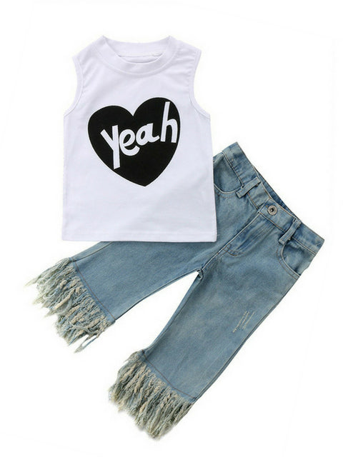 Yeah Sleeveless Top + Tassel Jeans
