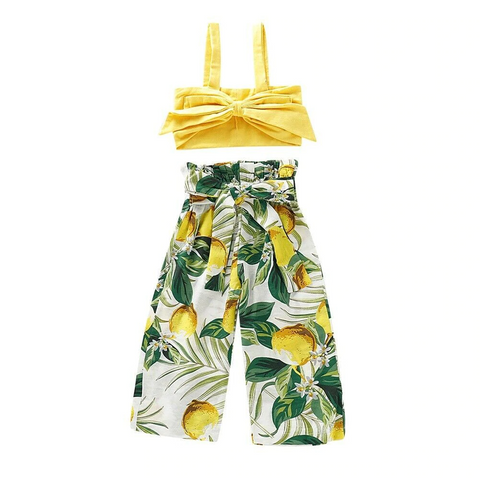 Bowknot Strap Top + Lemon Wide Pants