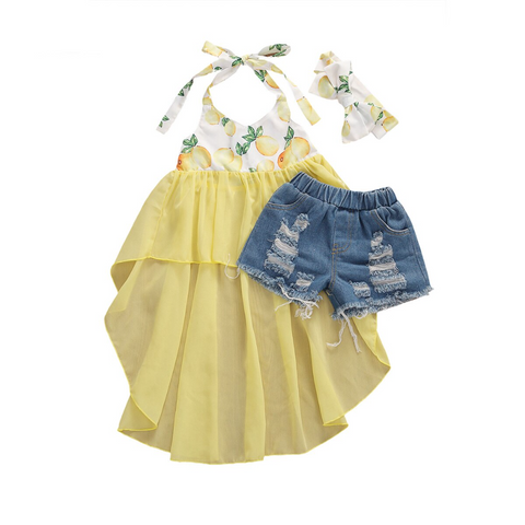 Lemon Tutu Dress Top + Distressed Shorts 3pcs Set