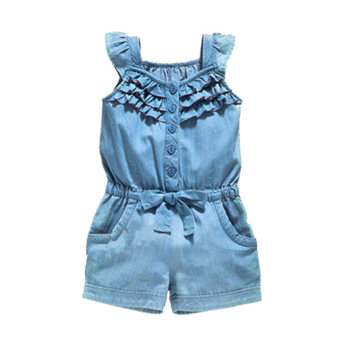 Girls Light Denim Jumpsuit
