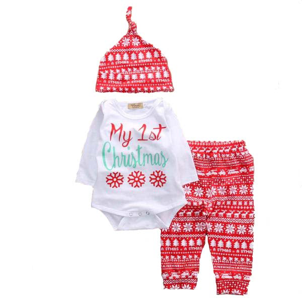 My 1st Christmas Snowflakes & Pants 3pcs Set