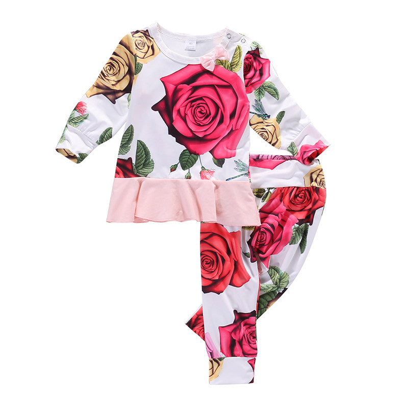 Rose Floral Ruffle Set