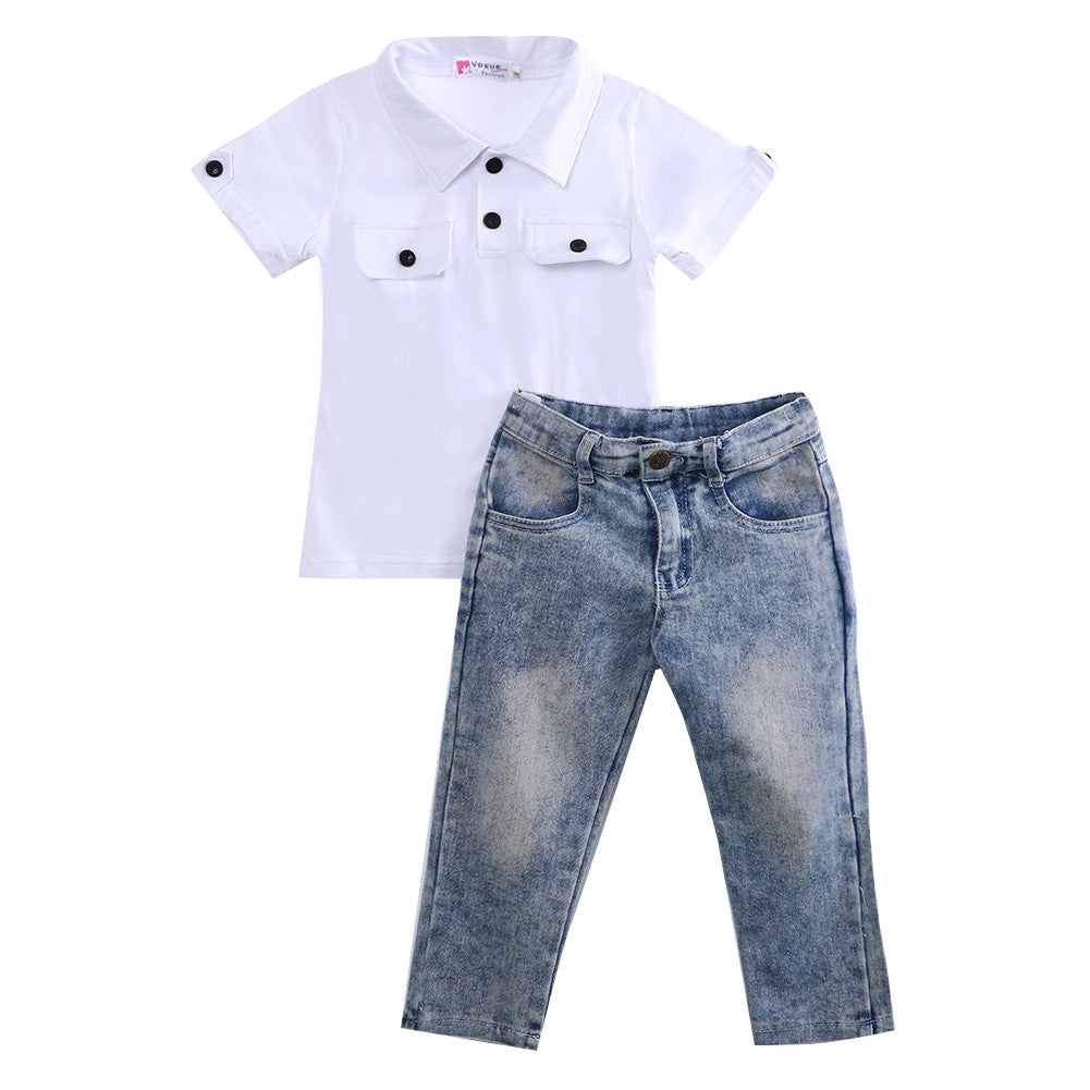 Boys White T-shirt + Jean Set
