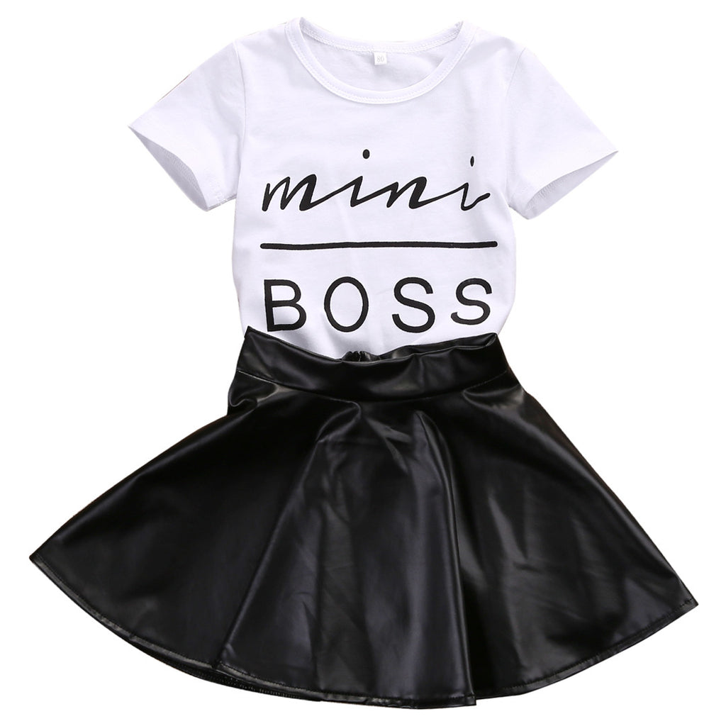 Mini Boss Shirt + Leather Skirt