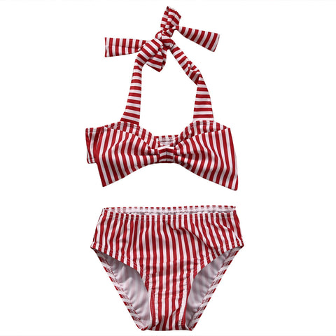 Red Striped Bathing Suit