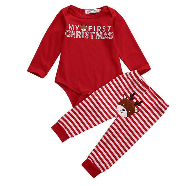 My First Christmas Bodysuit + Reindeer Pants