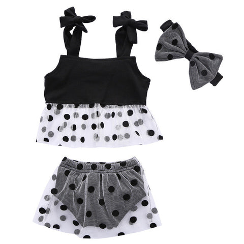 Black Sheer Polka Dot Set
