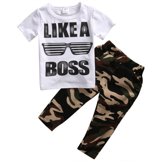Like a Boss Shirt & Camo Pants Set