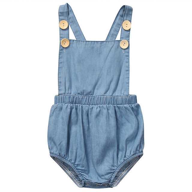 Denim Double Button Romper
