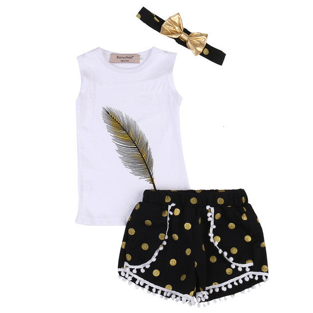 Feather Sleeveless Top + Polka Dot Shorts 3pcs Set