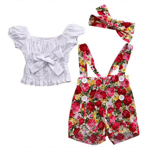 White Blouse + Red Floral Romper 3pcs Set