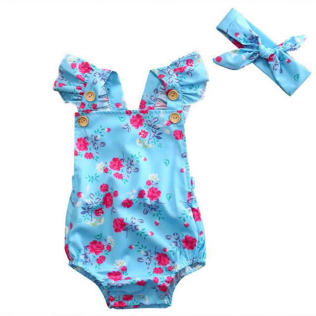 Sky Blue Ruffled Sleeve Romper + Headband