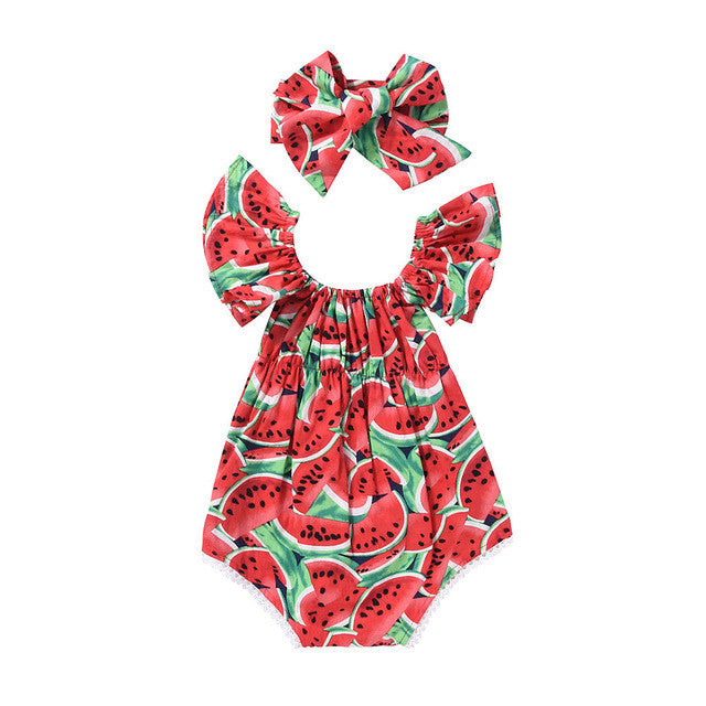 Ruffled Watermelon Romper + Headband