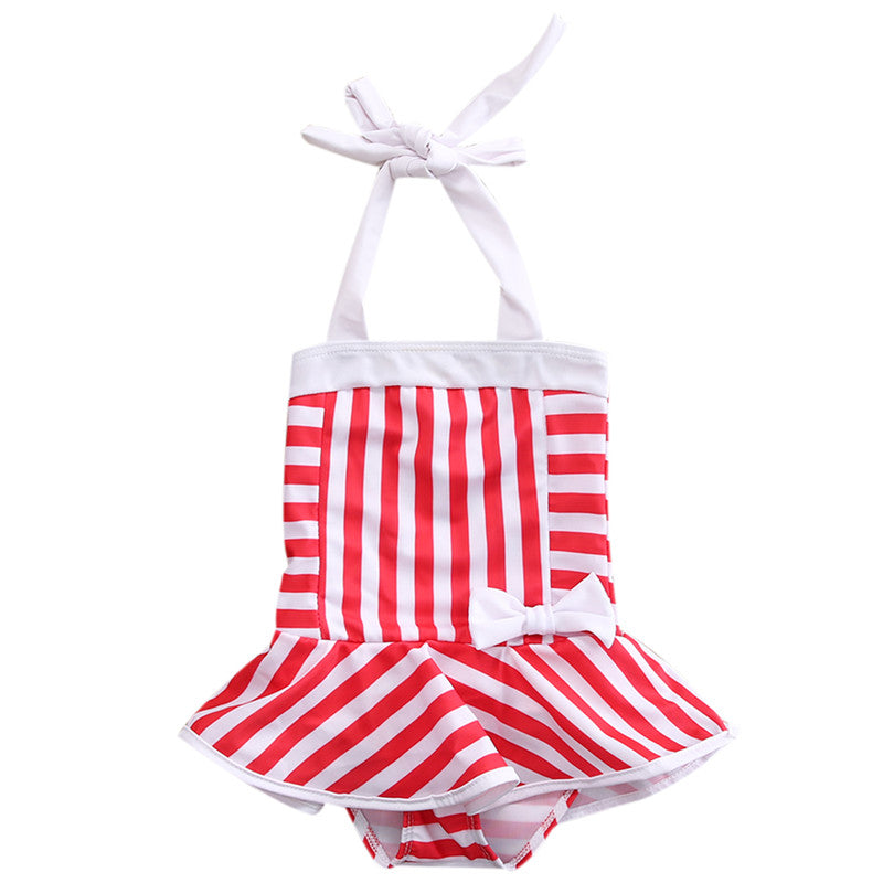 One Piece Red Striped Bathing Suit