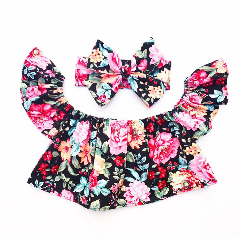 Bright Floral Off Shoulder Top +  Headband