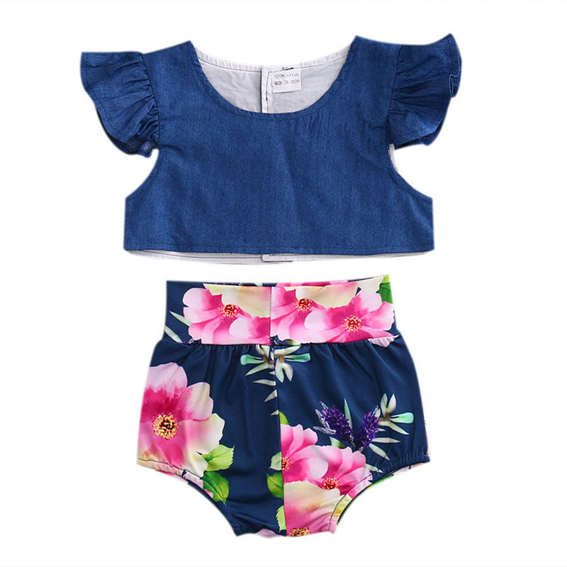 Denim Floral Clothing Set
