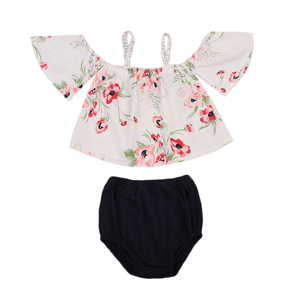 Hannah Open Shoulder Floral Top + Bottoms
