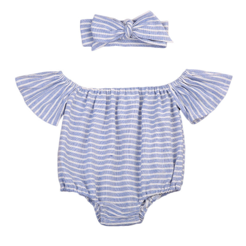 Sophia Striped Off shoulder Romper + Headband