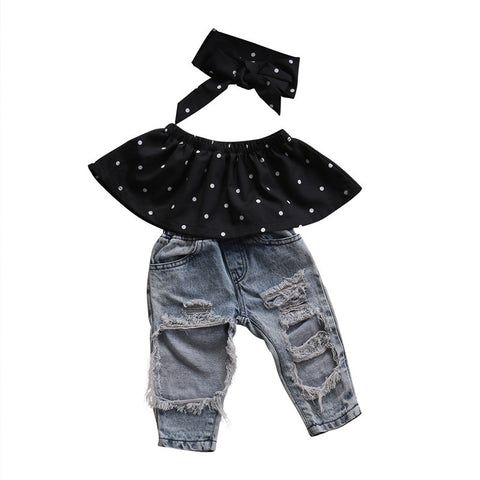 Polka Dot Top + Distressed Jeans 3pcs Set
