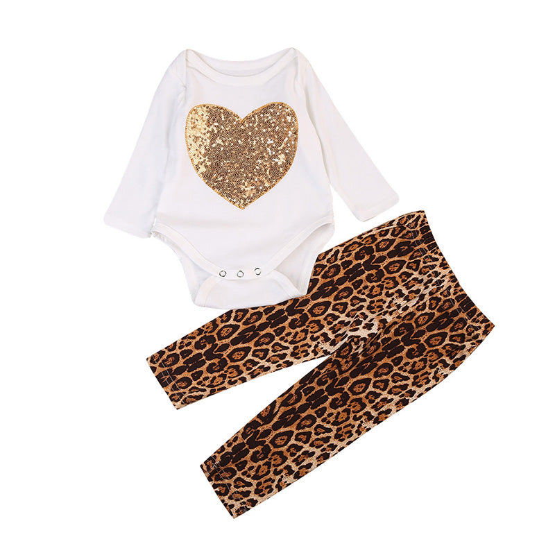 Gold Heart Bodysuit + Leopard Pants