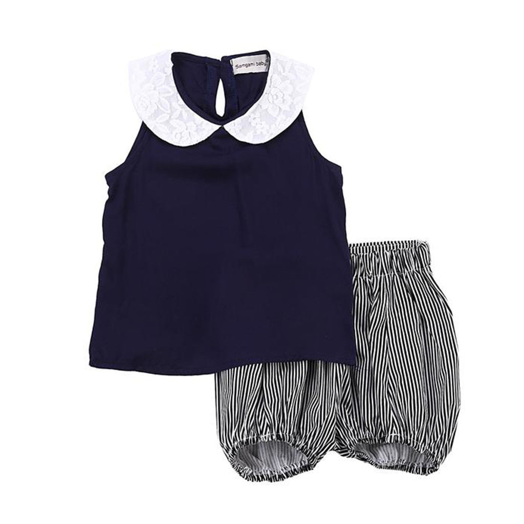 Girls Summer Black and White Clothing Set