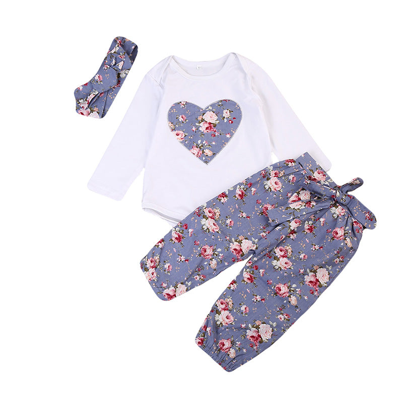 Lavender Heart Bodysuit + Floral Pants 3pcs Set