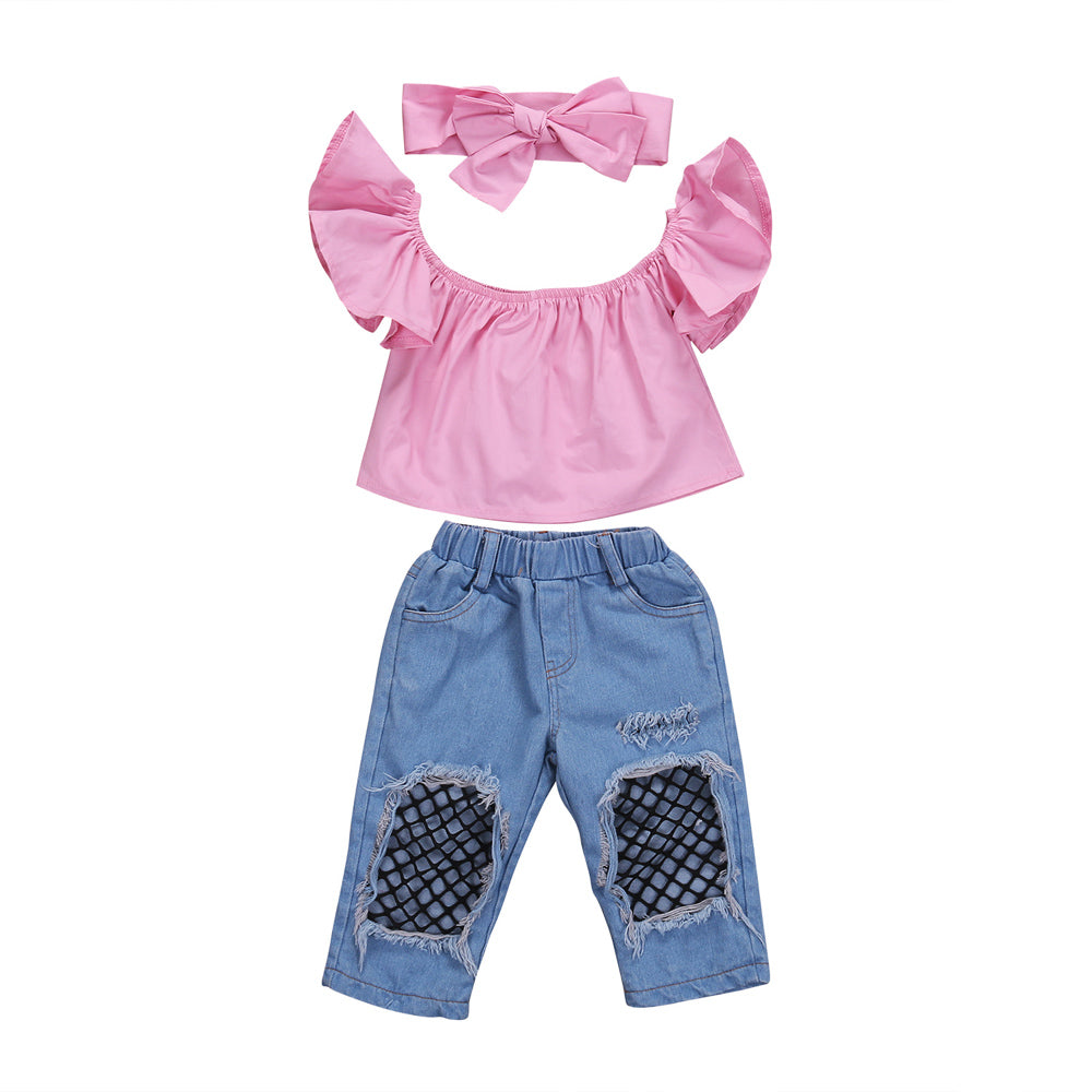 Pink Off-Shoulder + Fishnet Denim Pants 3pcs Set
