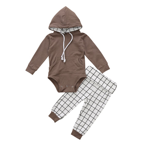 Hooded Bodysuit + Plaid Pants